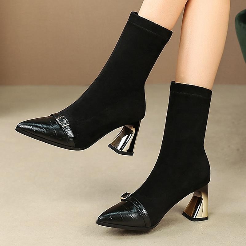 2019 mode luxueux talons hauts élastiques bottes femmes chaussures collants pointus chaussettes métal carré racine marque fermoir design bottine