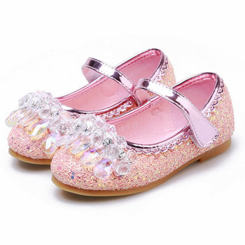 New Princess Kids Leather Shoes for Girls Flower Casual Glitter Children Flat soft Girls Sandals Dance Dress Party Wedding shoes ssai kids girls princess shoes lace flowers girls leather shoes children dance dress shoes baby girls wedding party shoes