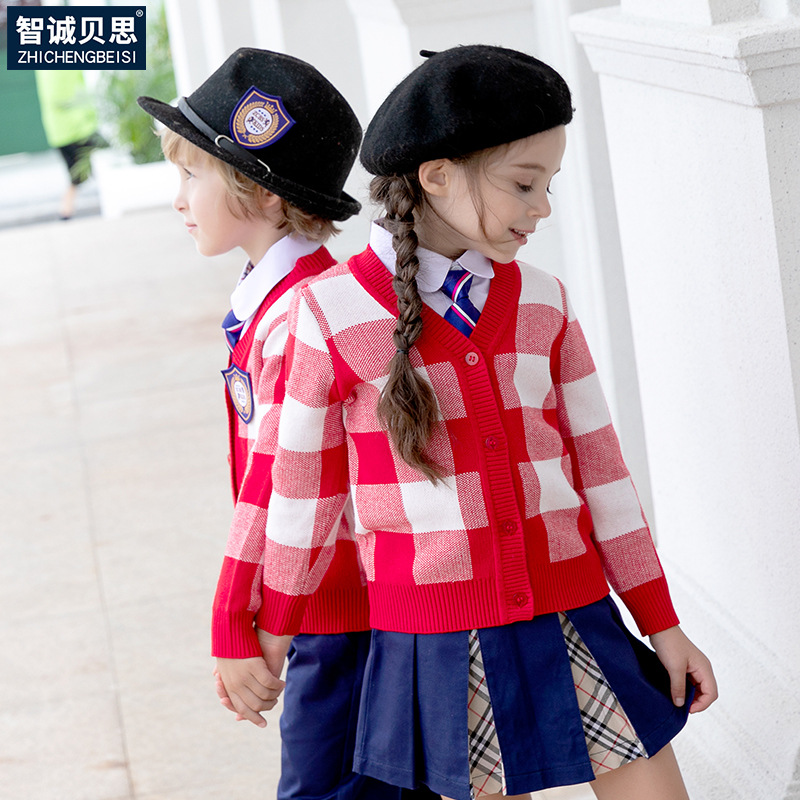 Kindergarten Suit Spring And Autumn Set Young STUDENT'S School Uniform Autumn Sweater British-Style College Set Business Attire