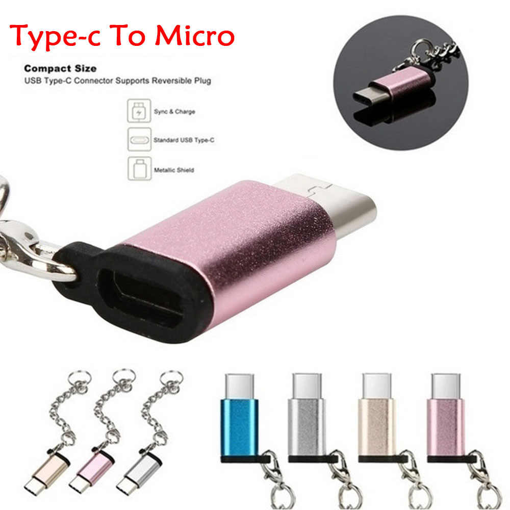 6 Colors USB Type C to Micro USB Converter with Keychain Metal Charge Data Converter for Samsung Huawei Type-C USB Adapter