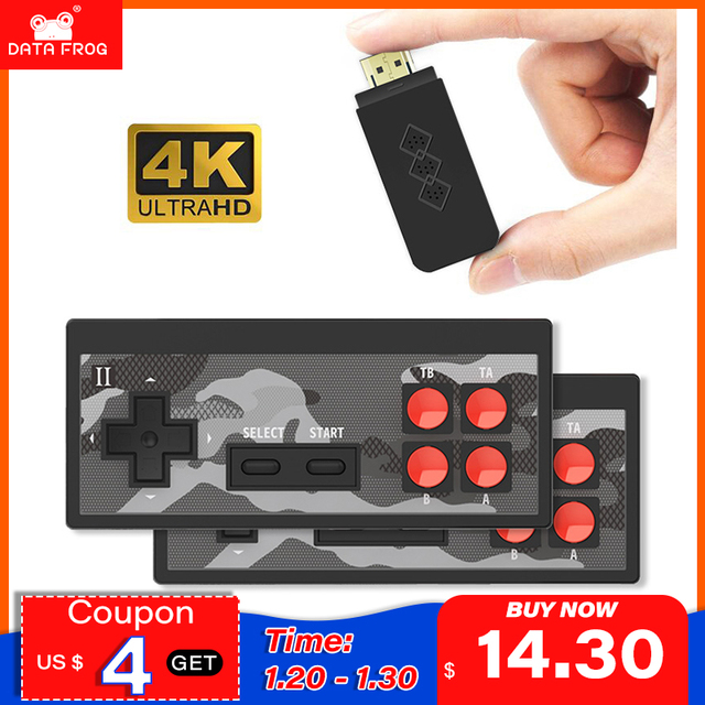 DATA FROG 4K HD Video Game Console Built in 568 Classic Games Mini Retro Game Console Wireless Controller TV Output Dual Players