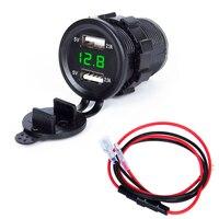 Universal Dual USB Charger Adaptor Soket LED Display dengan Penutup Debu Power Socket Mobil Sepeda Motor Aksesoris Mobil