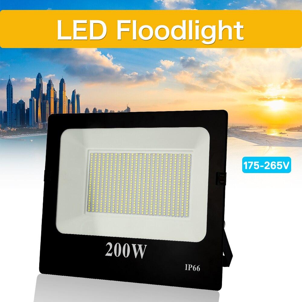 Ultra-dunne Led-schijnwerper 10W 30W 50W 100W 200W 300W 400W 220V Spotlight Outdoor Tuin Lamp Waterdicht IP66
