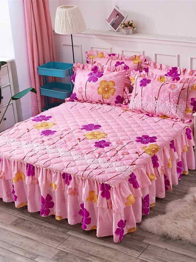 3PCS 150*200cm Bed Gonne Set Doppio Strato Copriletto Stampato Floreale Da Letto In Cotone Copertura Bilaterale Gonna Letto + 2 paio Di Federa