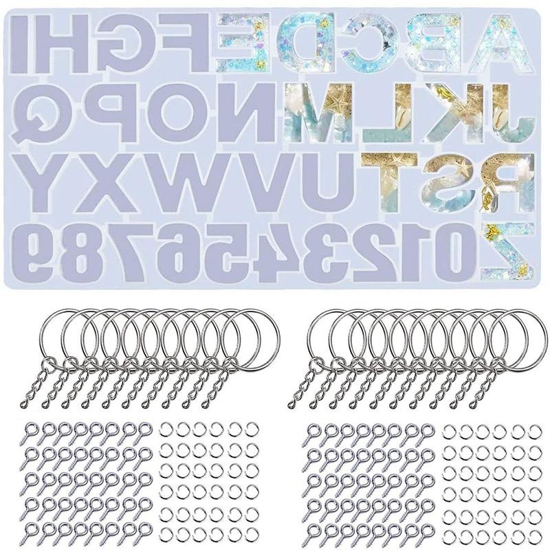 221 Pcs Alphabet Resin Silicone Molds Set Backward Casting Letter Number Epoxy Molds For Resin