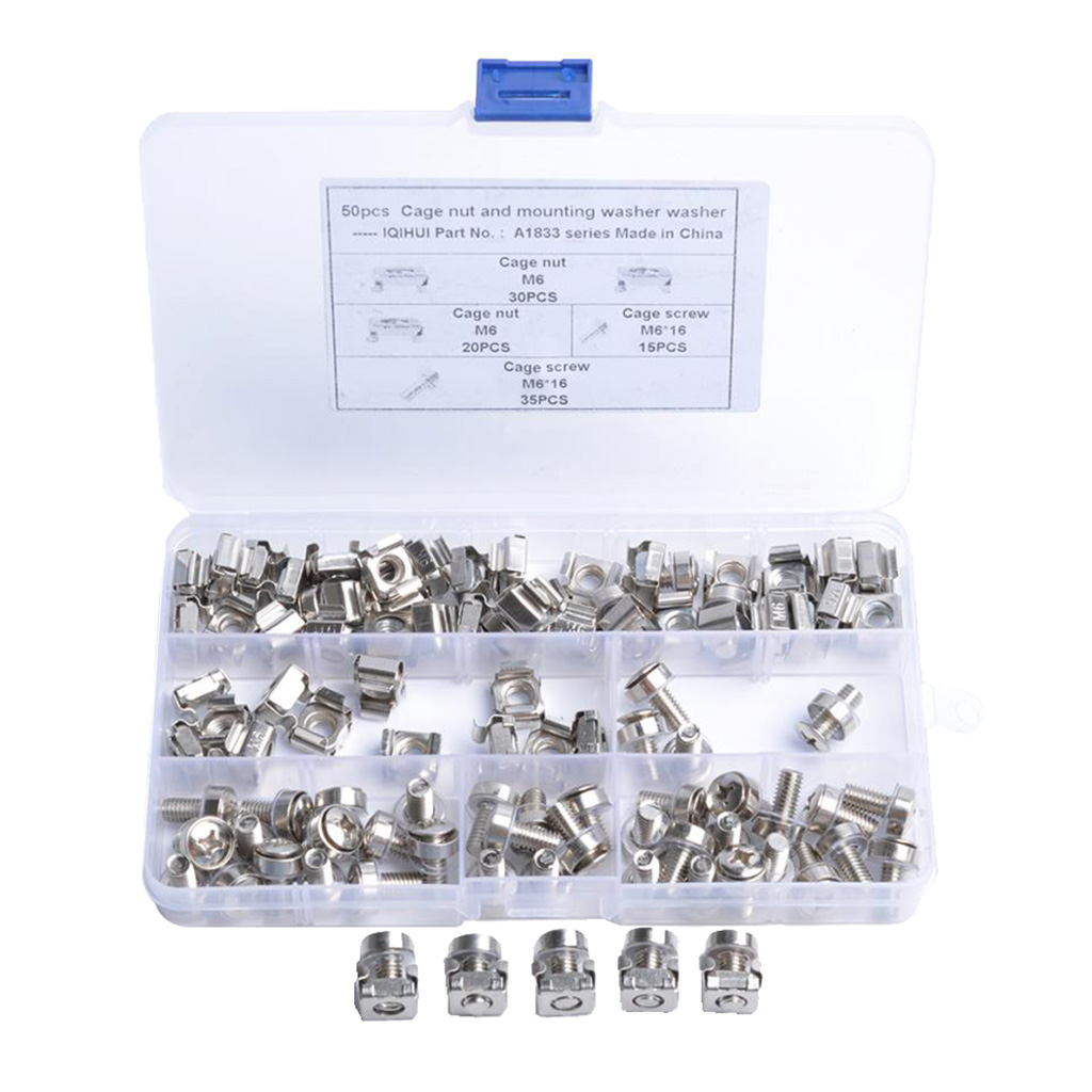 50Sets M6 X 16mm Screws And Cage Nuts For Server Shelf Cabinets Rack Mount Screw