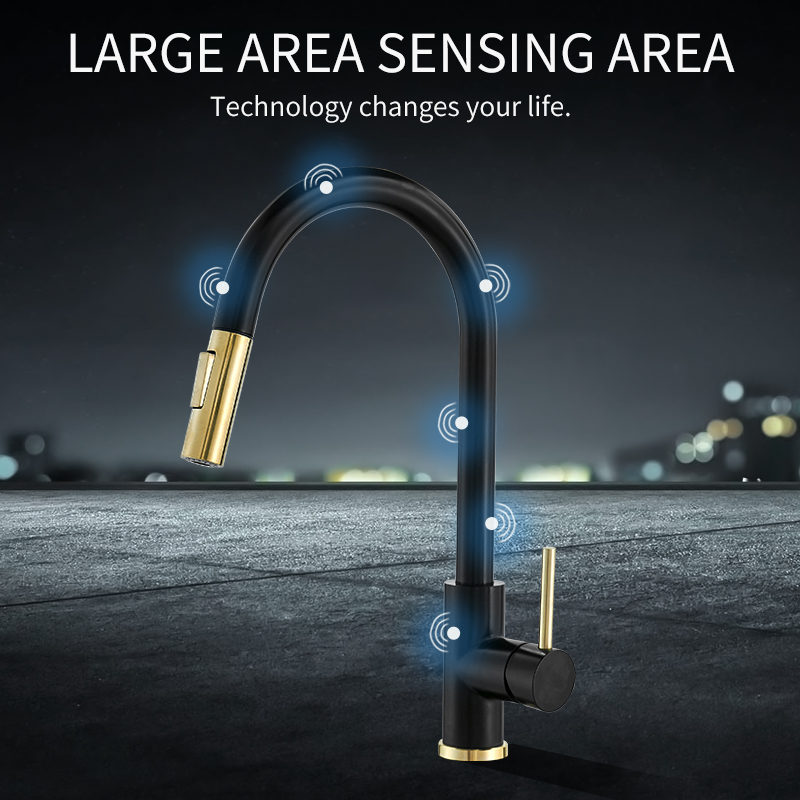 Kitchen Faucets Sensor Gold Water-Modes Single-Handle Smart-Touch Tap Brushed Mixer Dual