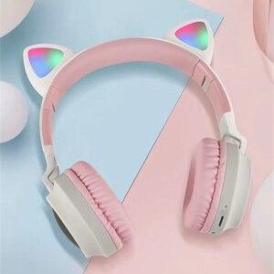 Image 4 - Dosmix LED ucho kota słuchawki z redukcją szumów zestaw słuchawkowy Bluetooth 5.0 dla dzieci obsługa karty TF 3.5mm wtyczka z mikrofonem