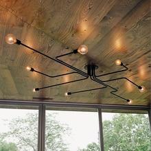 ヴィンテージペンダントライトランプ複数ロッド錬鉄製の天井灯E27 電球リビングルームlamparas家庭用照明器具