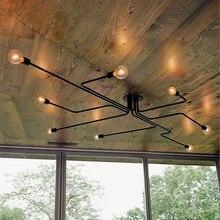 Lâmpada de luzes pendente, vintage, haste múltiplas, lâmpada e27 de teto em ferro forjado, lâmpada sala de estar, luminárias para iluminação doméstica