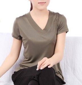 Image 3 - T Shirt manches courtes pour femmes, 100% en soie Pure, col en V, tricoté, taille L XL XXL XXXL, haut basique