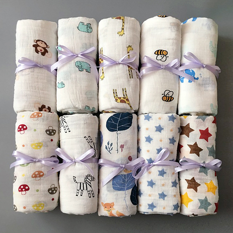 1Pc Baby Muslin 100% Cotton Baby Swaddles Soft Newborn Blankets Bath Gauze Infant Wrap Sleepsack Stroller Cover Play Mat
