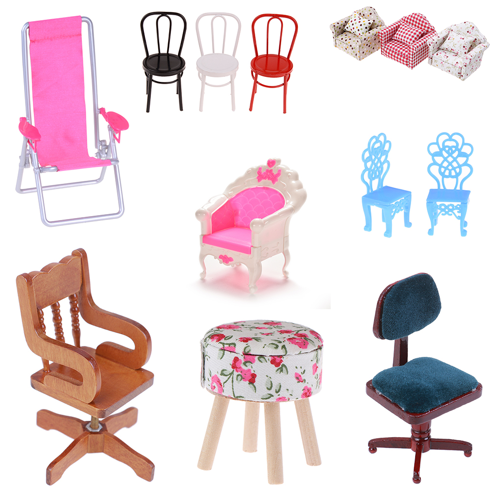 Dollhouse Miniature 1:12 Chair Model For Dolls House Furniture For Dolls Mini Chair Toys For Children