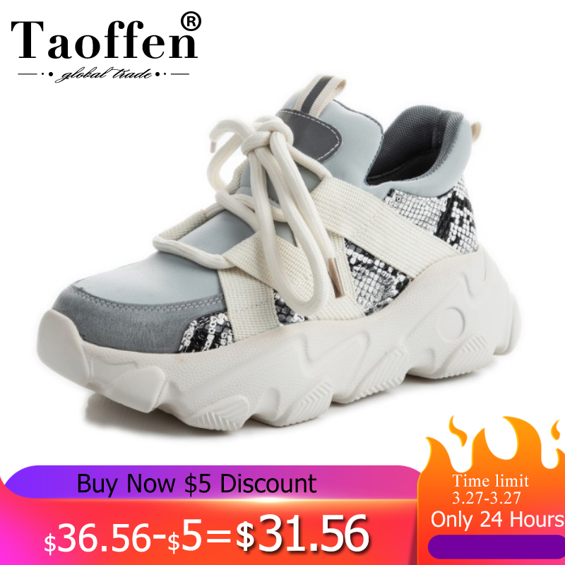 Taoffen Real Leather Women Vulcanized Shoes Snakeskin Print Patchwork Sneakers For Women Cushion Casual Footwear Size 35-40