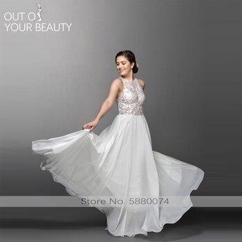 Luxury Wedding Dress Mermain White 2020 New V-neck Lace  High Waist V-backless Short Sleeve 50cm Tail With Belt Banquet Robe