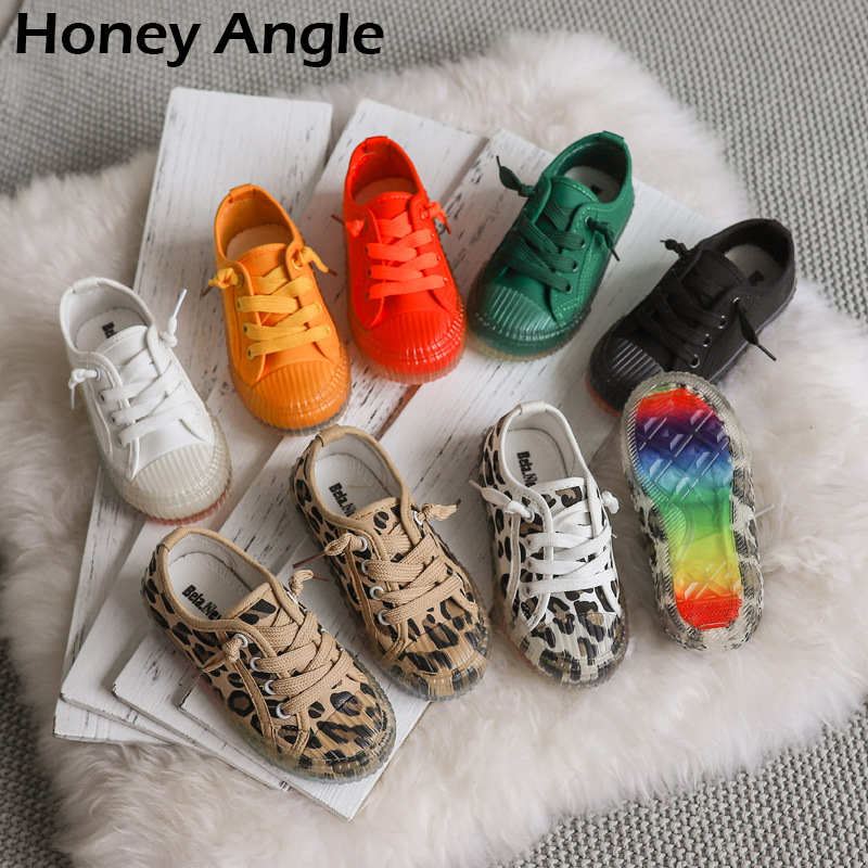 Korean Style Kids Canvas Shoes For Girl Boy Spring Autumn Leopard Rrint Children Shoes Little Girl Baby Fashion Canvas Shoe