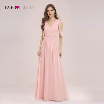 Bridesmaid Dresses Ever Pretty Elegant Romantic Sleek V Neck High Waist Chiffon Dress Wedding For Women