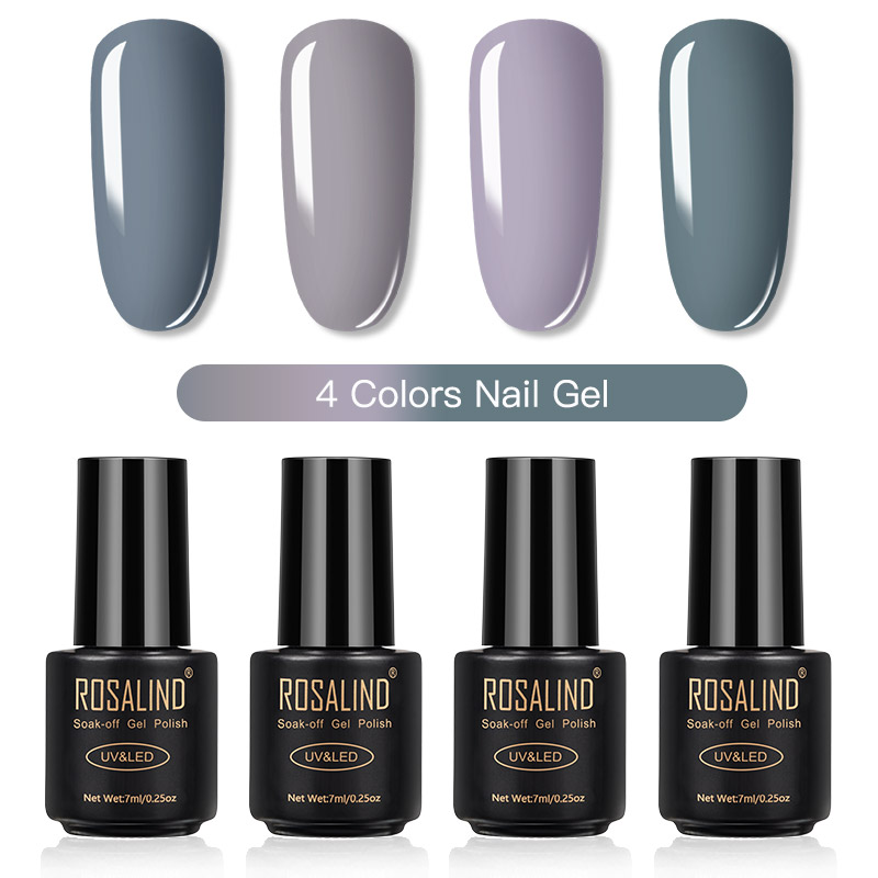 ROSALIND Gel Nail Polish Set Solid Color Nail Kit For Manicure Vernis Semi Permanent 7ML Gel Kit Top And Base All For Manicure 12