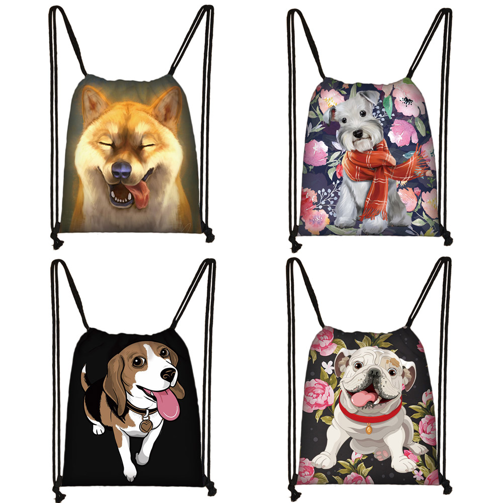 Cute Yorkshire Terrier / Shiba Inu / Beagle / Bulldog Print Drawstring Bag Women Fashion Storage Bag Puppy Dog Travel Backpack