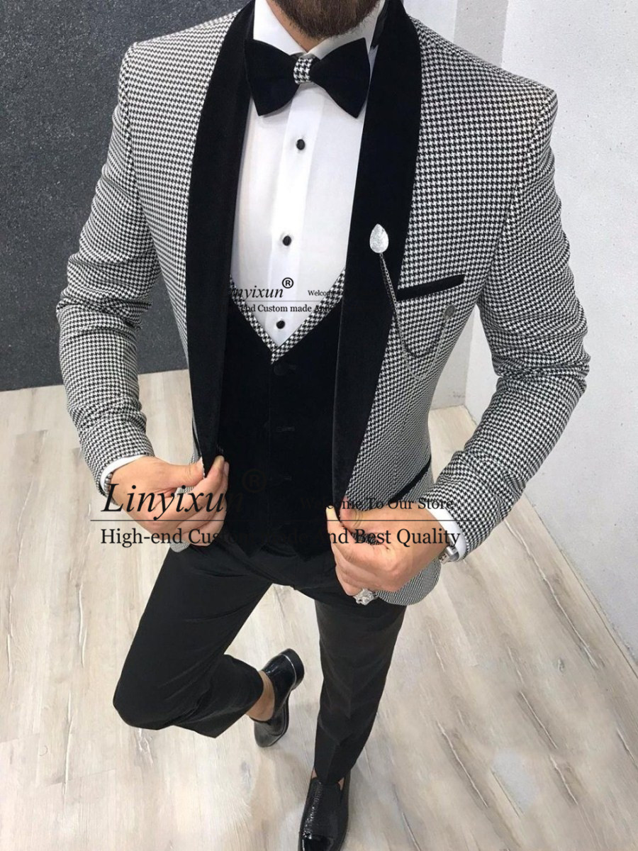 Italian Design 3 Piece Formal Men Suit 2020 Slim Fit Party Prom Suit Houndstooth Men Groom Wedding Suit Best Man Blazer Tuxedo Suits Aliexpress