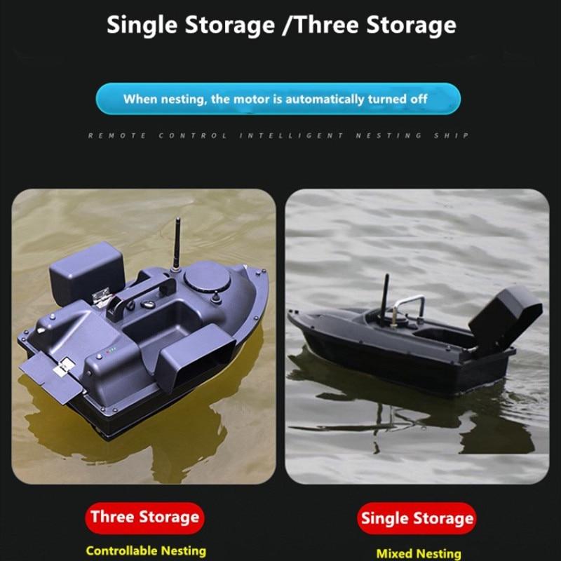 RC Fishing Bait Boat GPS 500M Wireless Intelligent Remote Control Nesting Boat Auto Cruise One-Key Return Three Hoppers 2KG Load Navigation Bait Boat,12000ml