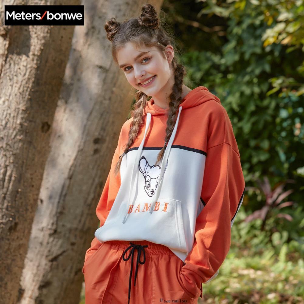 Metersbonwe Joint Disney Fawn Bambi 2020 New Spring Hoodies Loose Women Print Stitching Hit Color Hoodies