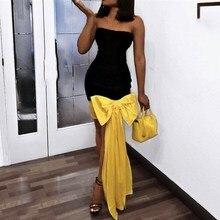 Women Bodycon Tube Dress Patchwork Big Bowtie Off Shoulder Sexy Party Dress Clubwear Tunics Tight Dress