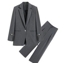 Plus Size Vrouwen M-5XL Hoge Kwaliteit Broek Pak Twee Stuk Pak 2020 Nieuwe Lente Casual Dames Blazer Jas elegante Broek