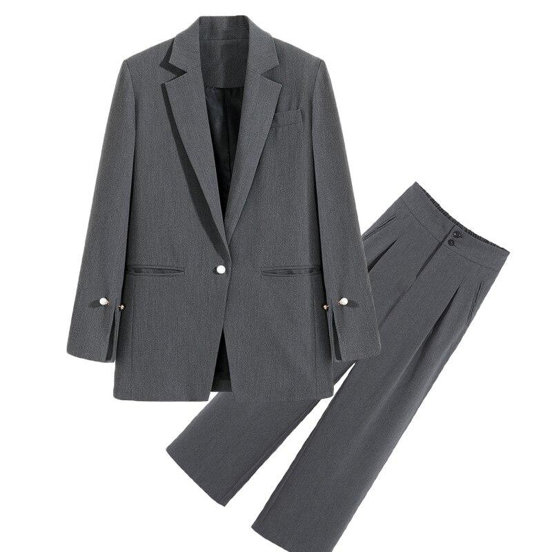 Plus Size Women's M-5XL High Quality Pants Suit Two-piece Suit 2020 New Spring Casual Ladies Blazer Jacket Elegant Trousers