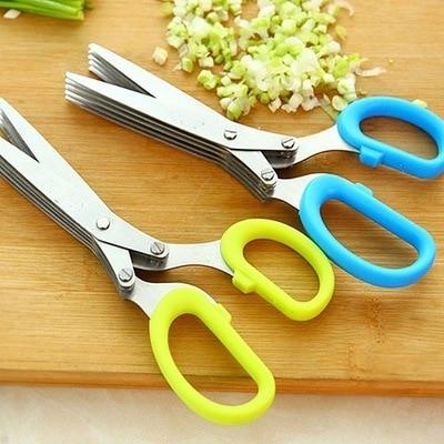 Stainless Steel Kitchen Scissors Five-Tier Green Onion Cutter Spice Shear Laver Broken Fresh Cut Office Shredding Scissors Knife