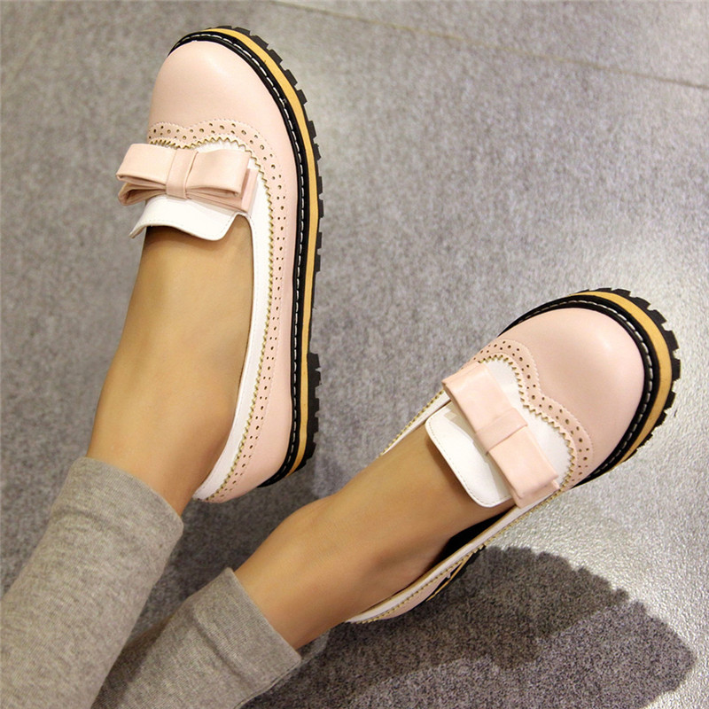 Brand Designer Lolita Shoes Pink Black Blue Women Bow Ballet Flats Sweet Casual Ladies Flat Shoes Creepers Shoes Platform Women