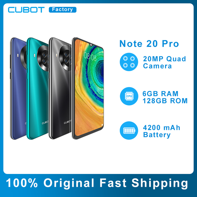 Original Cubot Note 20 Pro Smartphone 6GB 128GB Rear Quad Camera 12MP NFC 6.5″ HD Display Android 10 Mobile Phones 4200mAh 1