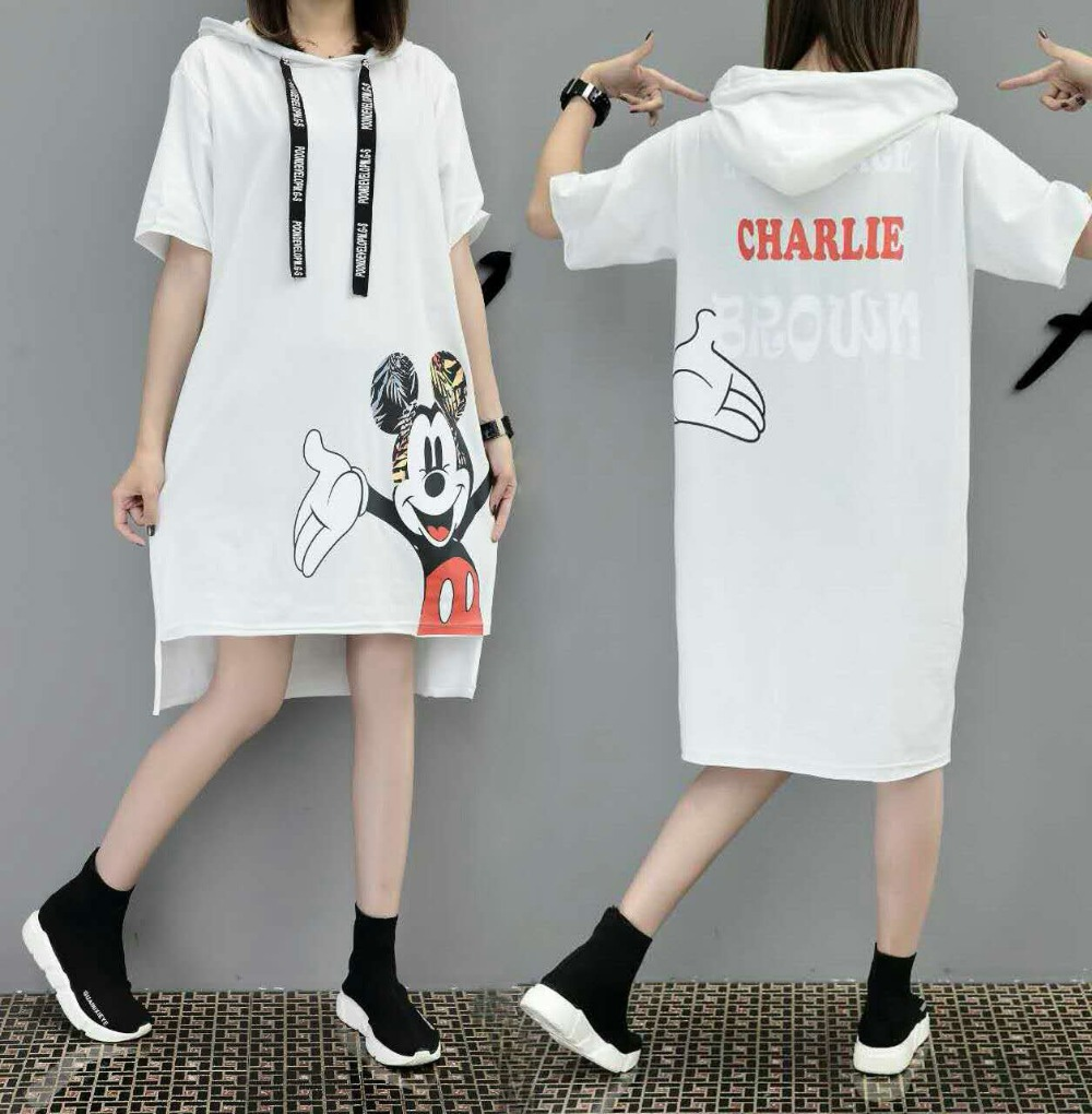 H3d6c6c18cd6f4233bcc44badb75d17c2d - New Runway short sleeve Hooded Sweatshirt dress casual mickey cartoon printed women femme oversize dresses vestidos