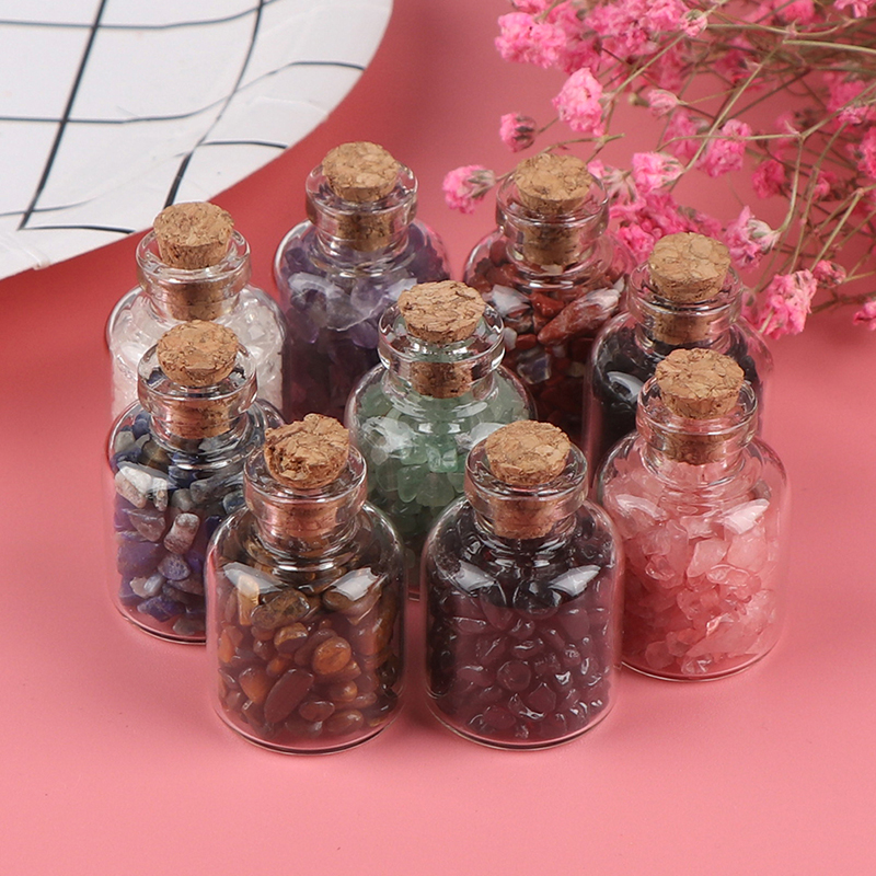 1pc Natural Crystal Rock Stone Gravel Wishing Bottles Rough Minerals Specimen Mini Stone Reiki Healing Gift With A Box
