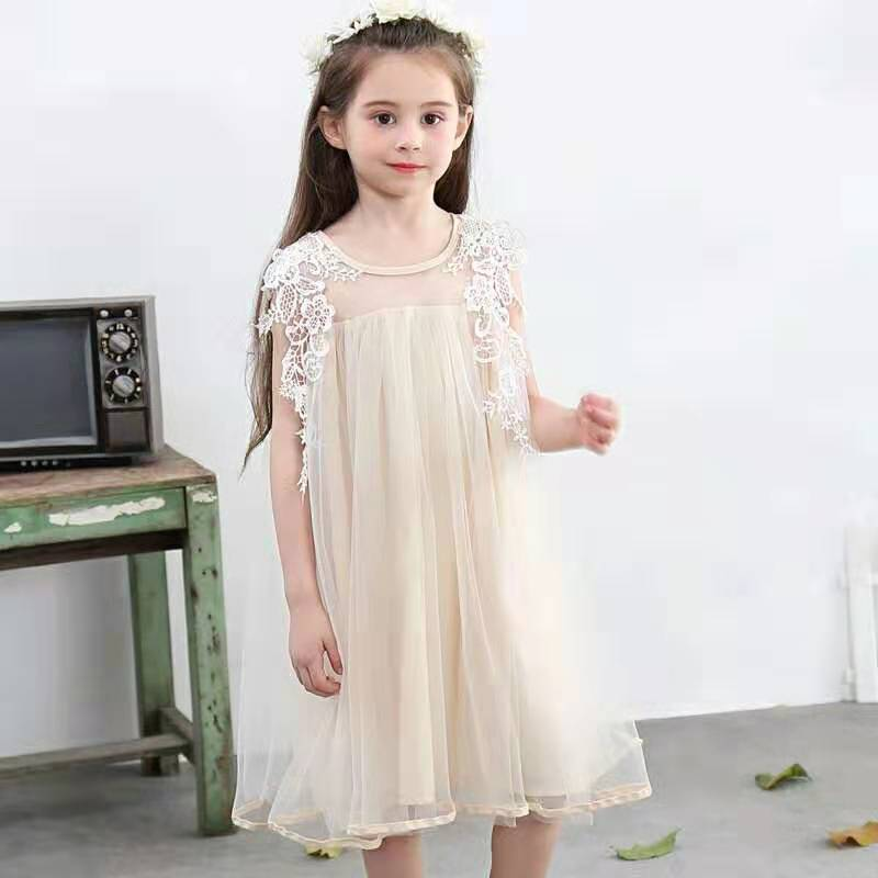 Sweet Toddler Baby Girl Long Sleeve Lace Tulle Embroidery Princess Dress Clothes