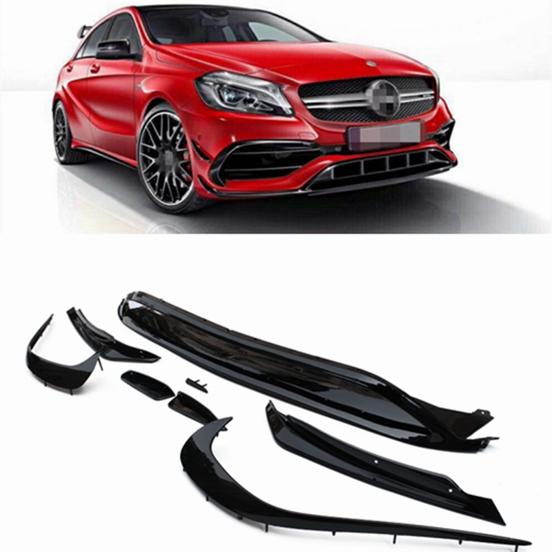 For W176 Front Lip Spoiler Splitters Canards For Benz A Class A200 A250 A45 AMG 2016 2018 8PCS Molding Garnish Bumper Decoration in Body Kits from Automobiles Motorcycles