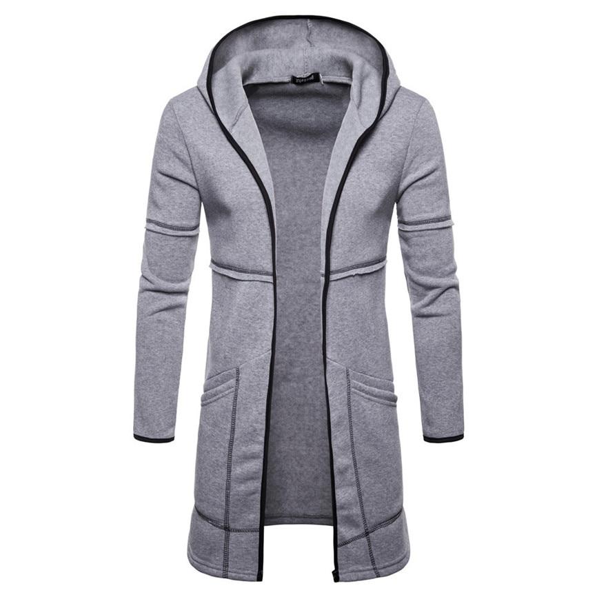 Осенняя новинка, европейский и американский стиль, чистый цвет, мужской кардиган с длинным рукавом, Длинная толстовка с капюшоном, модное Спортивное повседневное пальто - Цвет: gray