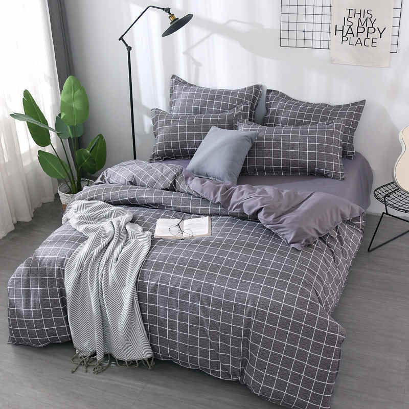 Gray 4pcs Girl Boy Kid Bed Cover Set Duvet Cover Adult Child Bed Sheets And Pillowcases Comforter Bedding Set 2TJ-61008
