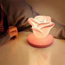 USB Rose Flower LED Night Light Touch Dimmable Table Lamp 3 Brightness Romantic Silicone Desk Light Valentine's Day Gift rose flower wooden photo frame led table night light