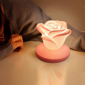 USB Rose Flower LED Night Light Touch Dimmable Table Lamp 3 Brightness Romantic Silicone Desk Light Valentine's Day Gift 2016 creative pyramid led night light lamp ac 100 240v 4w usb rechargeable led desk light touch dimmable table lamp