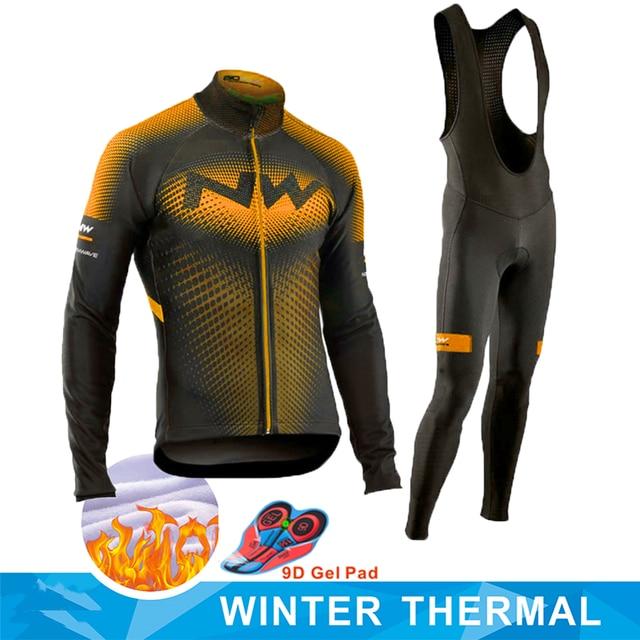 Strava equipe inverno velo térmico ciclismo roupas dos homens manga longa camisa terno equitação ao ar livre bicicleta mtb roupas bib calças conjunto 1