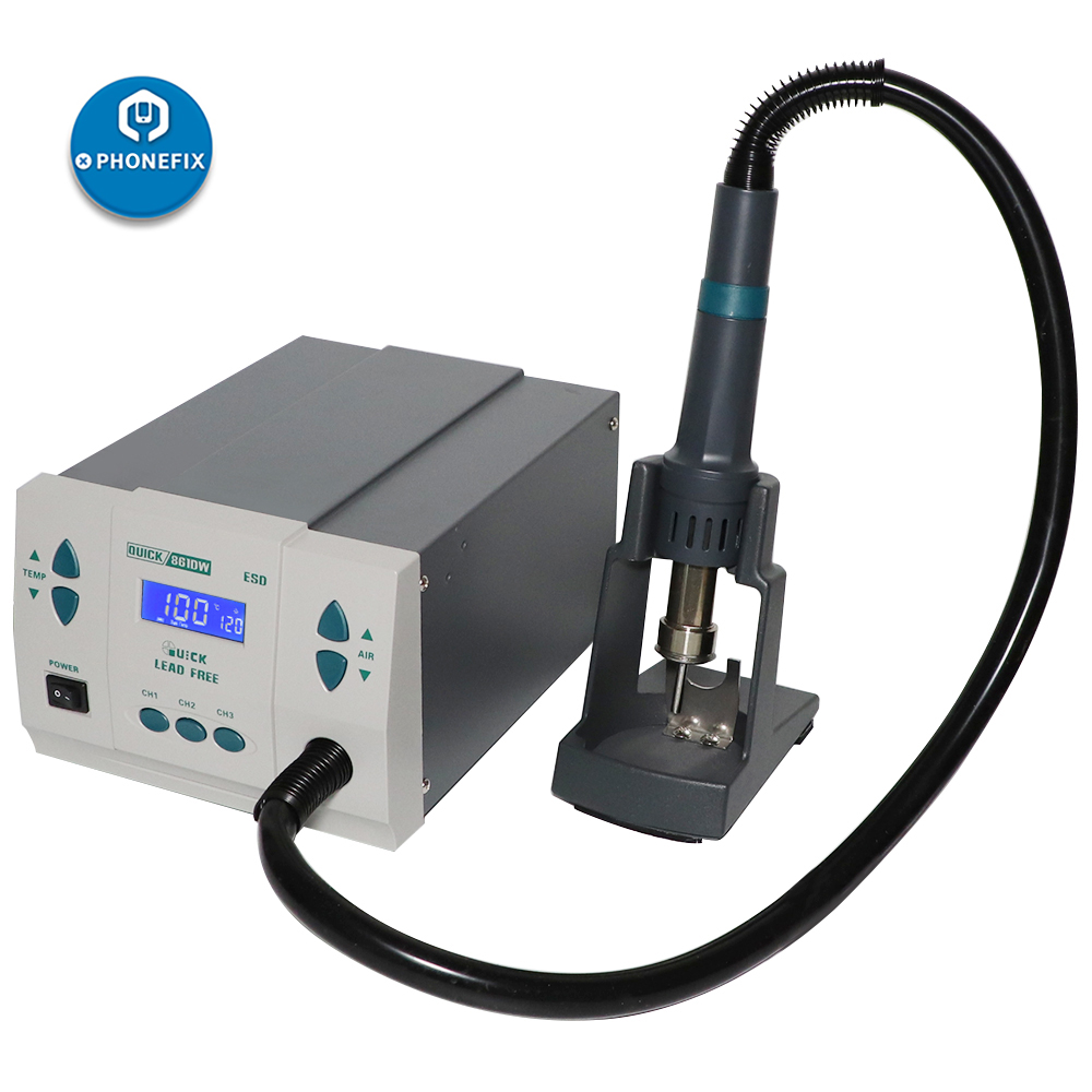 Tools : Original QUICK 861DW Hot Air Rework Station Lead-free BGA Soldering Station with Nozzles For Phone PCB Repair Welding Station
