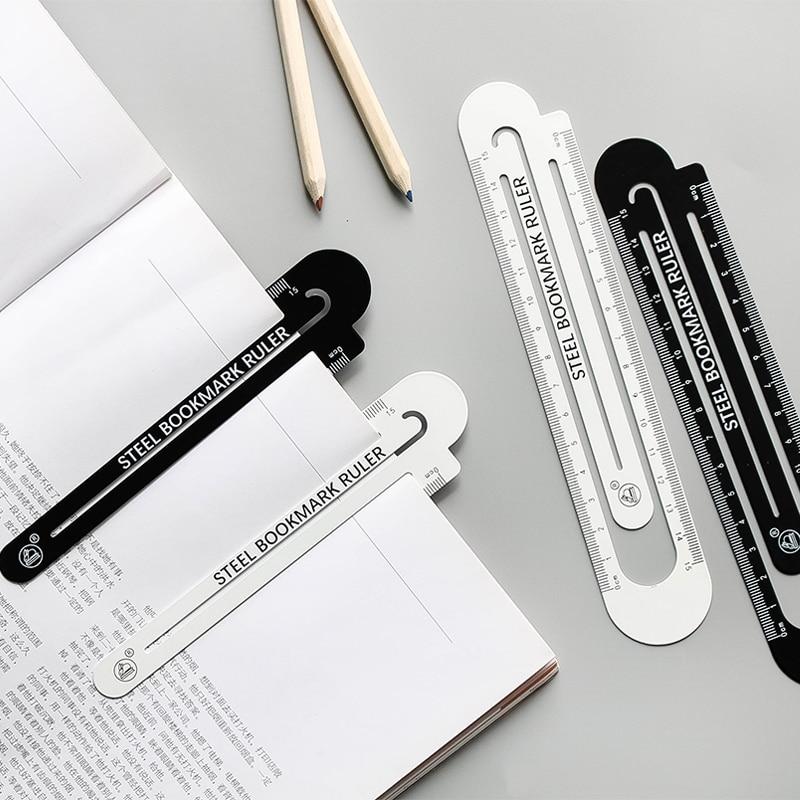 JIANWU 1pcs 12cm15cm High Quality Steel Ruler  Metal Ruler  Metal Bookmarks School Supplies Drawing Supplies