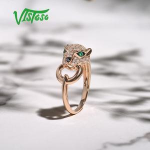 Image 4 - VISTOSOแหวนทองคำแท้ 14K 585 กุหลาบทองเสือดาวแหวนมรกตประกายเพชรครบรอบเครื่องประดับFine