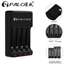 Palo 4 Slots 1.2Vaaa Aa Oplaadbare Batterij Opladers Led Licht Smart Battery Charger Ni Mh NI CD Aa Aaa Laders Met usb Kabel