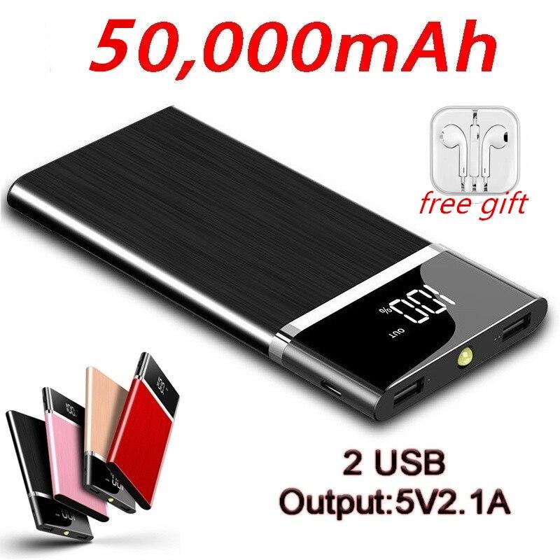 Énorme capacité écran Lcd batterie externe 2 USB sortie Portable batterie externe chargeur de voyage extérieur pour iphone 8 X samsung tablette et m