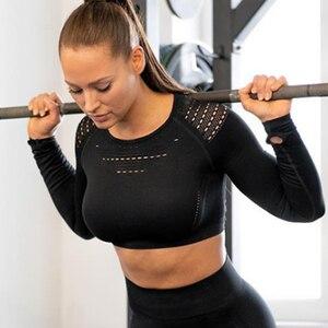 Image 3 - 女性のシームレス長袖クロップトップ yoga シャツ親指穴ランニングフィットネストレーニングトップシャツ yoga 製品ジム服