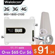 Walokcon ثلاثي الموجات مكبر للصوت 900 1800 2100 GSM DCS WCDMA 2G 3G 4G LTE إشارة الداعم 900/1800/2100 الهاتف المحمول مكرر الخلوية @ 1
