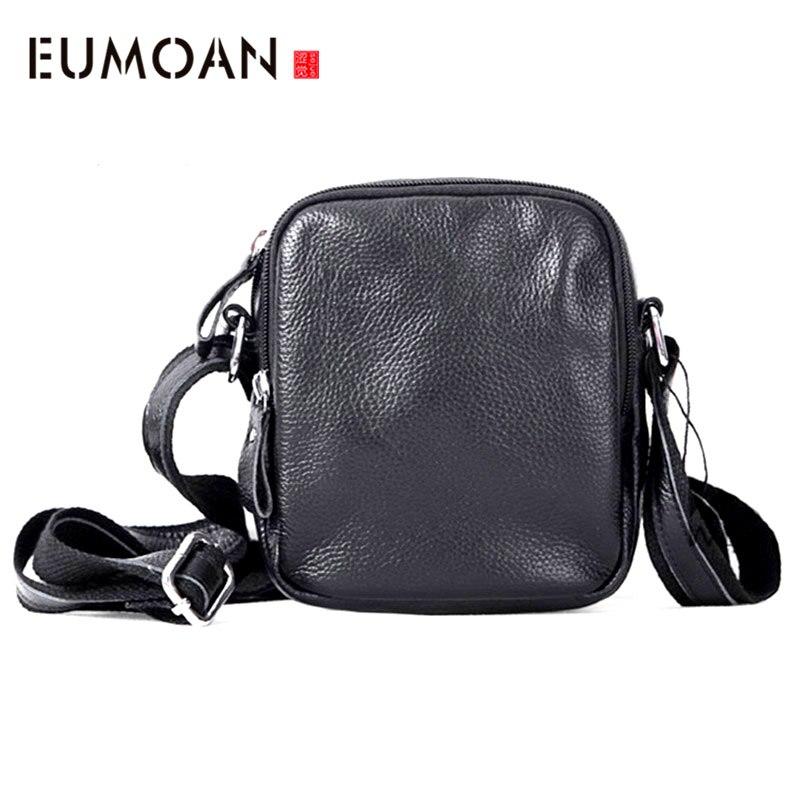 EUMOAN Head cowhide Men's bag multifunctional casual hanging neck mobile phone bag leather shoulder oblique carry small bag