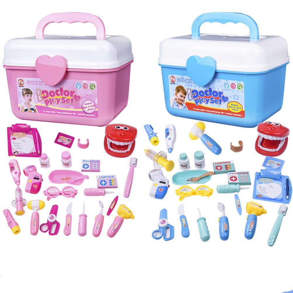 Hobbylane 25Pcs Kids Simulation Medicine Box Doctor Toys Sets Funny Pretend Play Nurse Medical Kits For Children